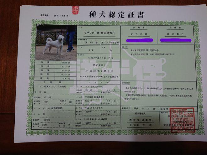 種犬認定証書