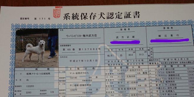 系統保存犬認定証書